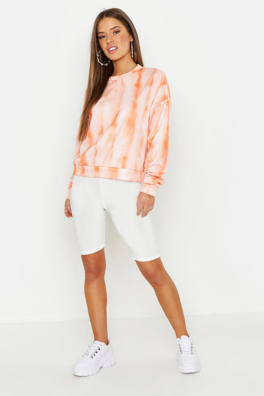Womens Petite Oversized-Sweatshirt in Batik-Optik - orange - 34, Orange - Boohoo.com