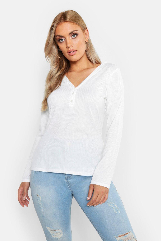Womens Plus - Schlichtes, geripptes Oberteil mit Knöpfen und langen Ärmeln - Weiß - 44, Weiß - Boohoo.com