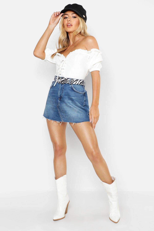 Купить Skirts, Petite Raw Hem Denim Mini Skirt, boohoo