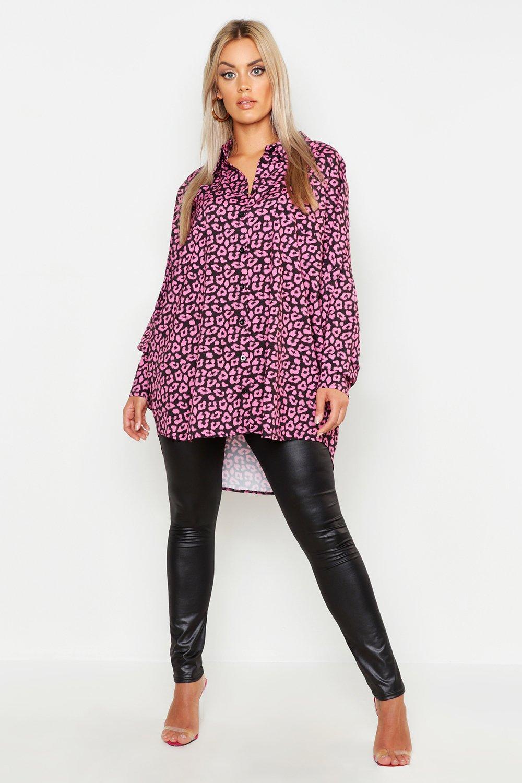 Womens Plus Oversized-Hemd mit Leoparden-Print - schwarz - 48, Schwarz - Boohoo.com
