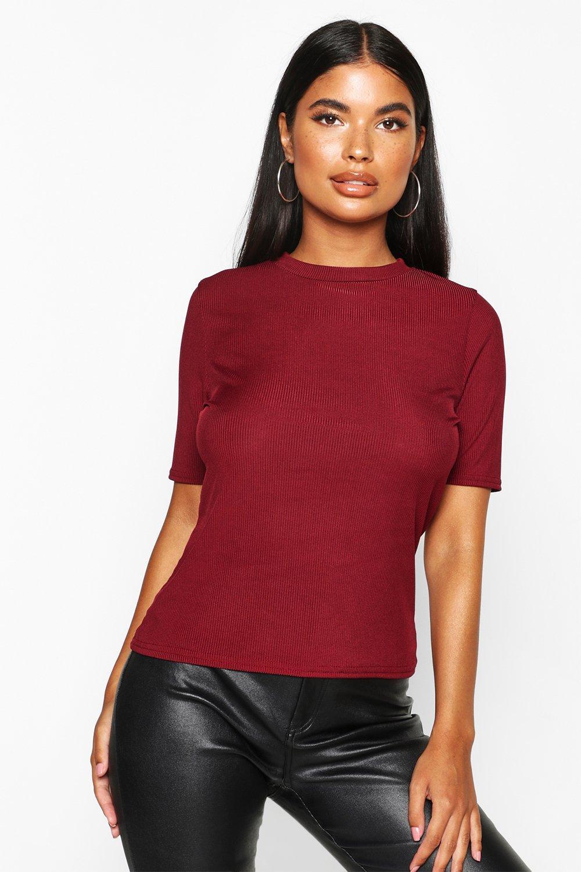 Womens Petite Geripptes Basic-T-Shirt - berry - 30, Berry - Boohoo.com
