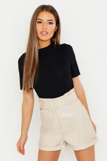 Black Petite Ribbed Basic T Shirt