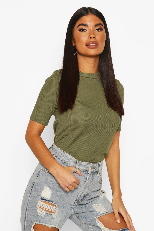Womens Petite Geripptes Basic-T-Shirt - khaki - 30, Khaki - Boohoo.com