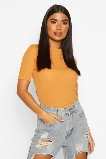 Mustard Petite Ribbed Basic T Shirt