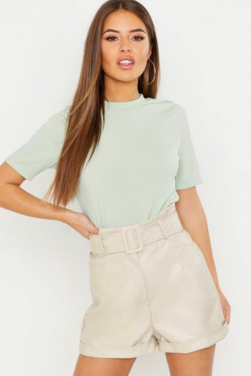 Sage Petite Ribbed Basic T Shirt