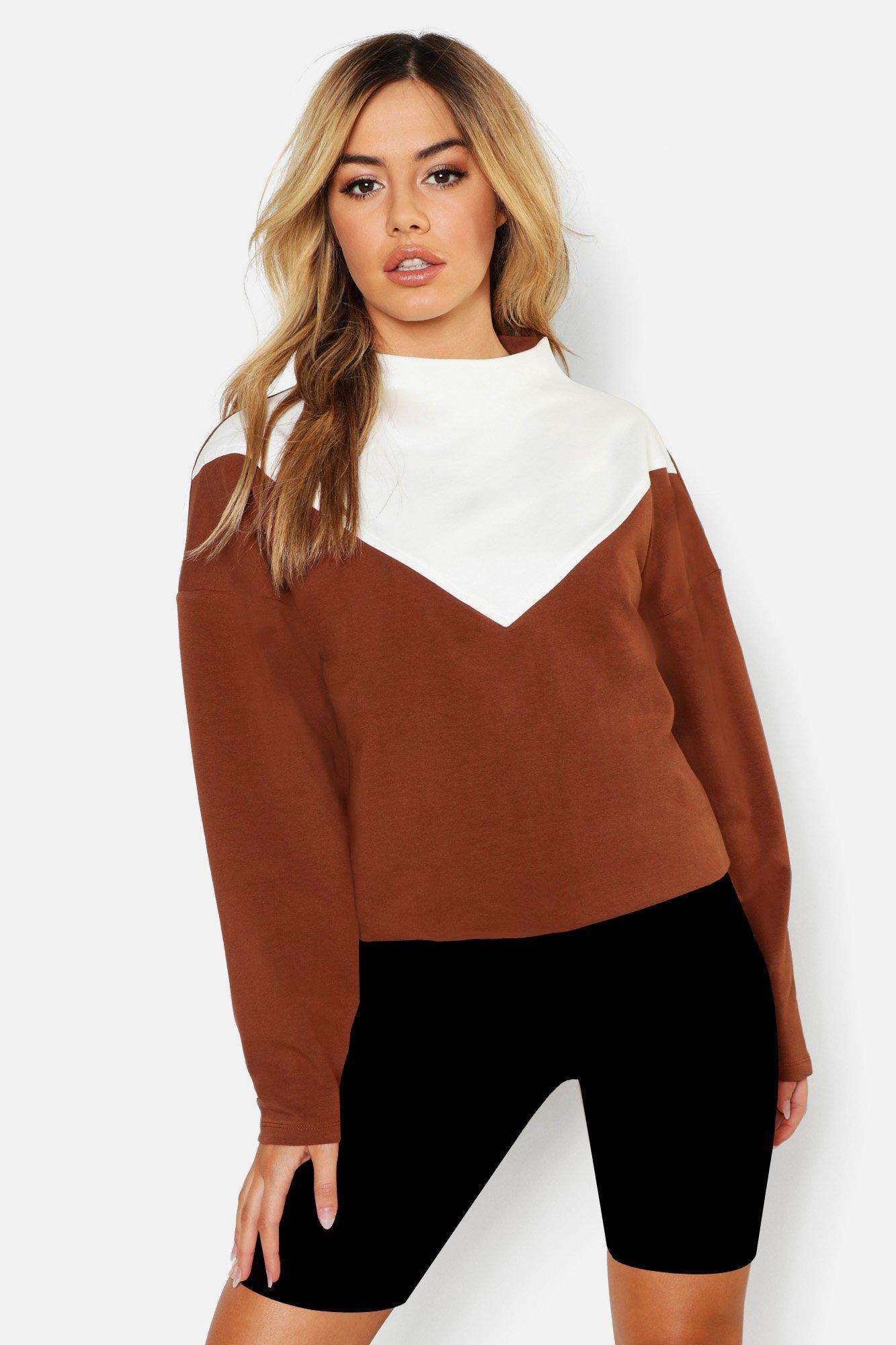 Womens Petite Colorblock-Sweatshirt mit Trichterkragen - kamelhaarfarben - S, Kamelhaarfarben - Boohoo.com