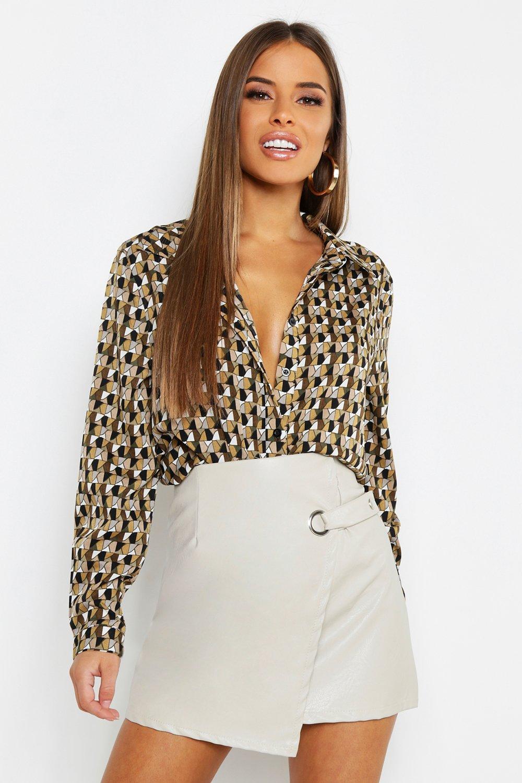 Купить Из коллекции <Petite> - рубашка с геометрическим принтом, boohoo