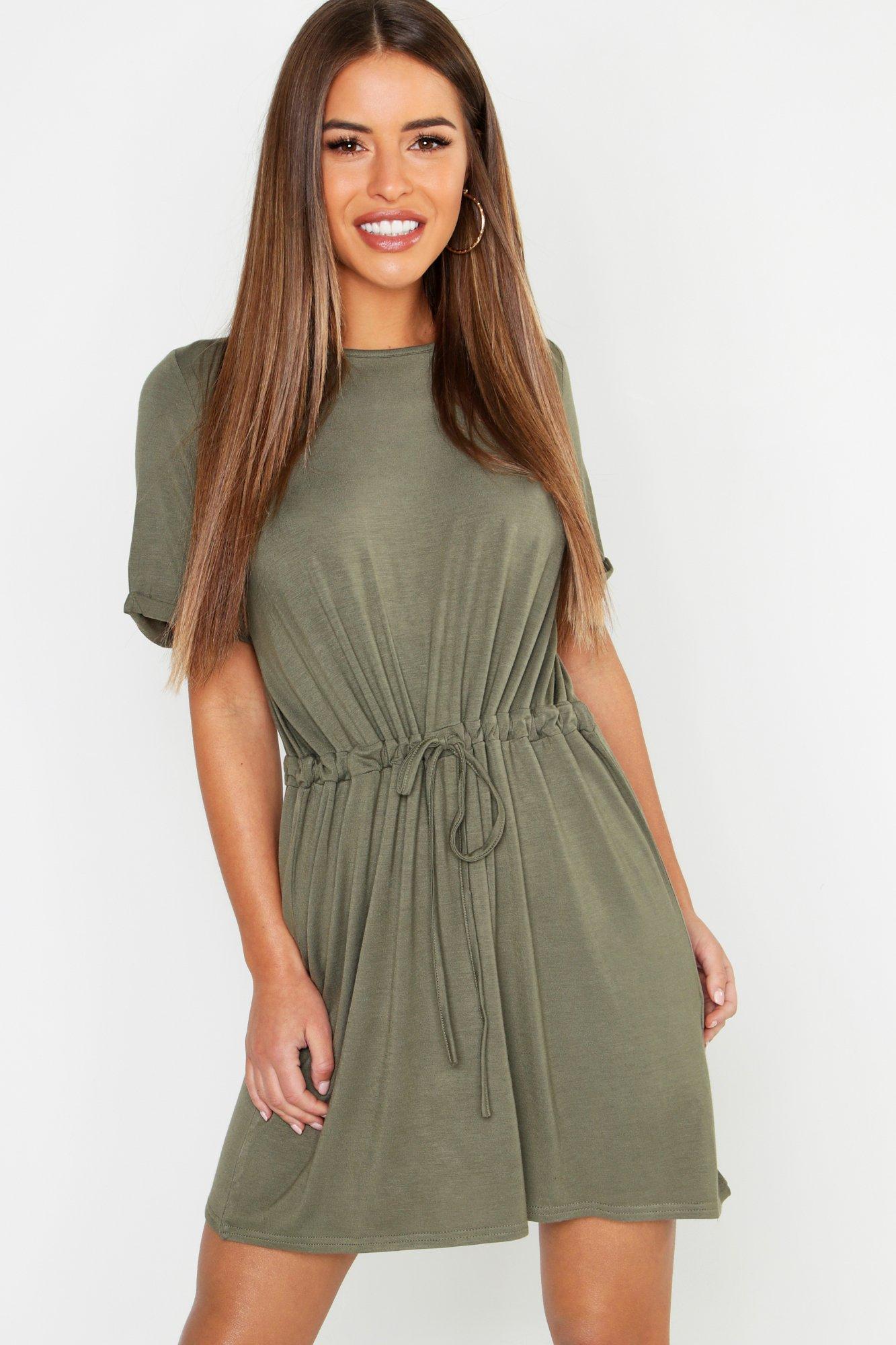 Купить Petite Drawstring T-Shirt Dress, boohoo