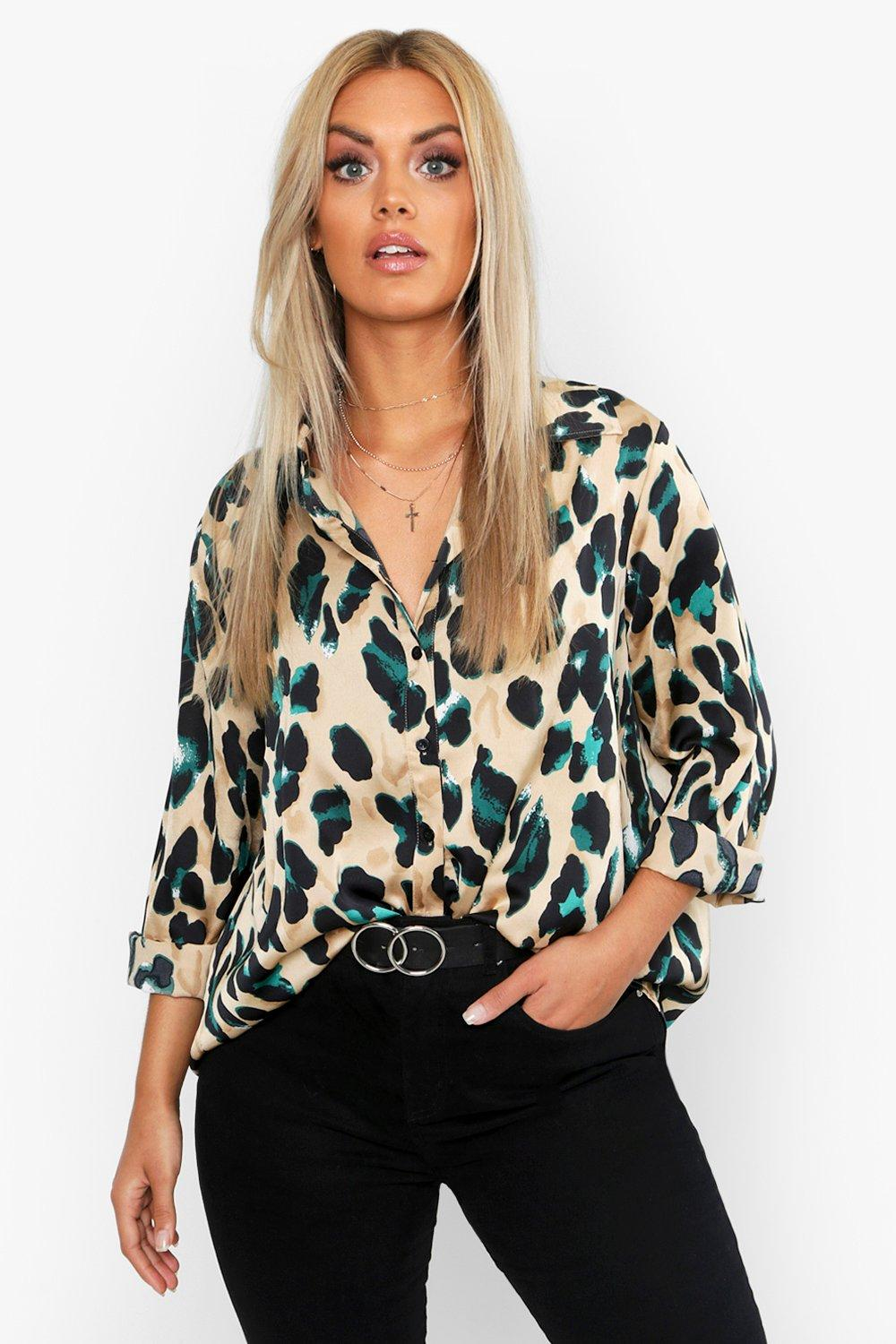 boohoo Womens Plus Satin Leopard Shirt - Black - 18, Black