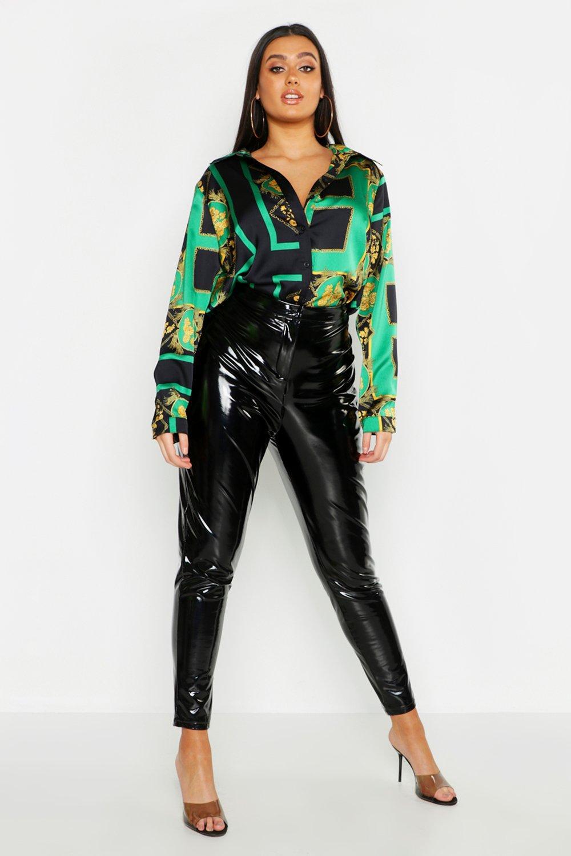 Womens Plus Satinhemd mit Barockmuster - grün - 48, Grün - Boohoo.com