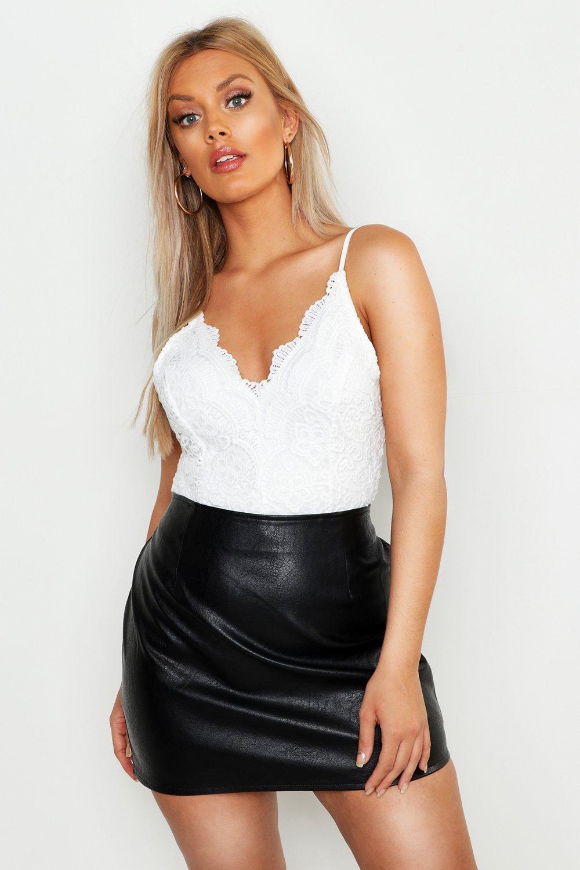 Womens Plus Premium Spitzen-Bodysuit - Weiß - 46, Weiß - Boohoo.com