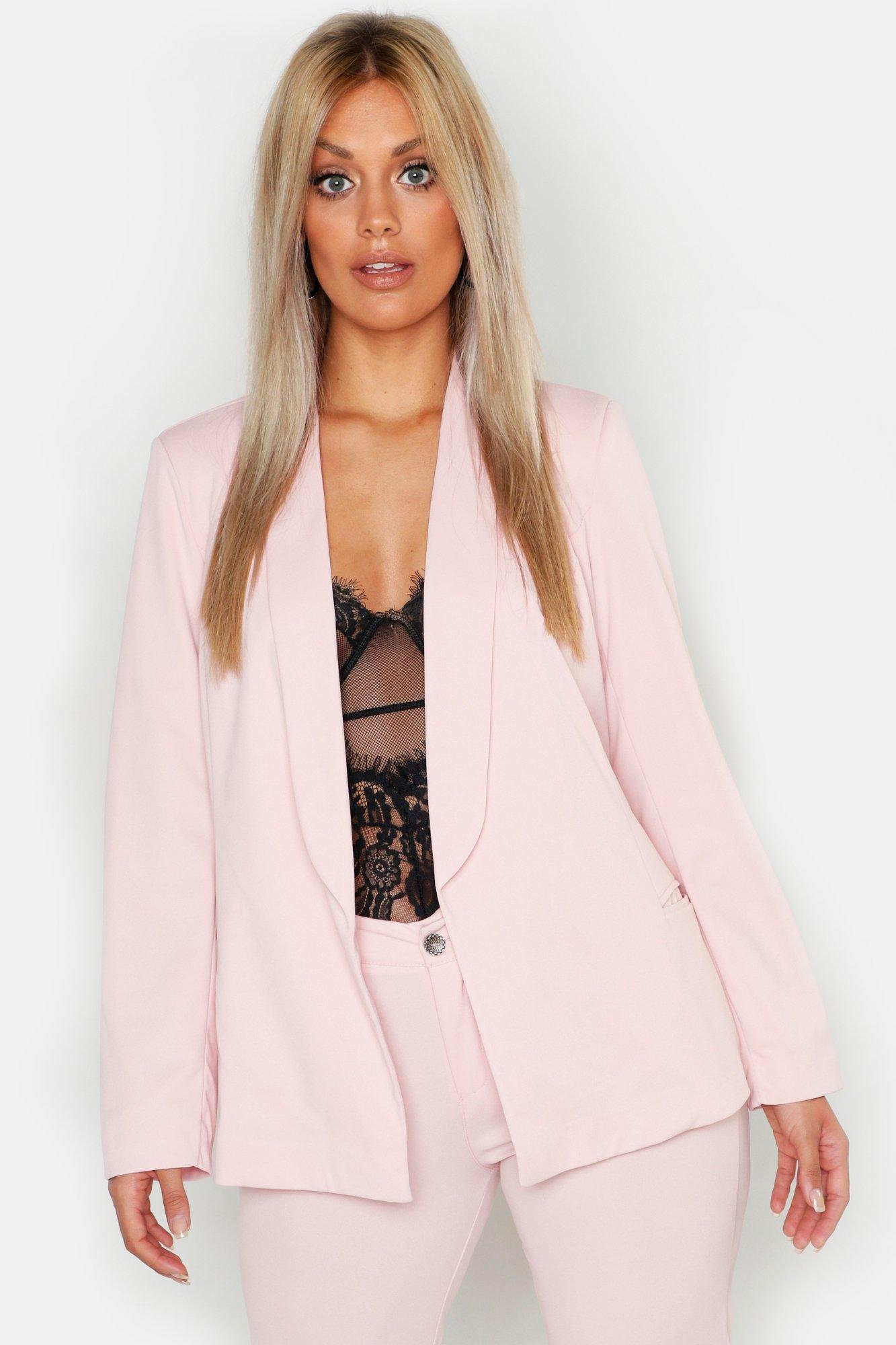 boohoo Womens Plus Tie Waist Blazer - Pink - 18, Pink