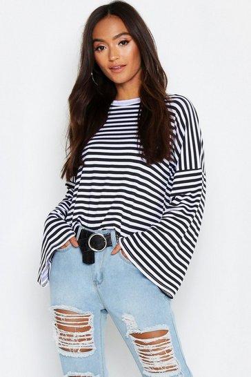 Multi Petite Stripe Wide Sleeve Top