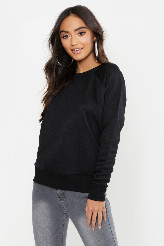 Womens Petite Sweatshirt Basic mit langen Ärmeln - schwarz - 32, Schwarz - Boohoo.com