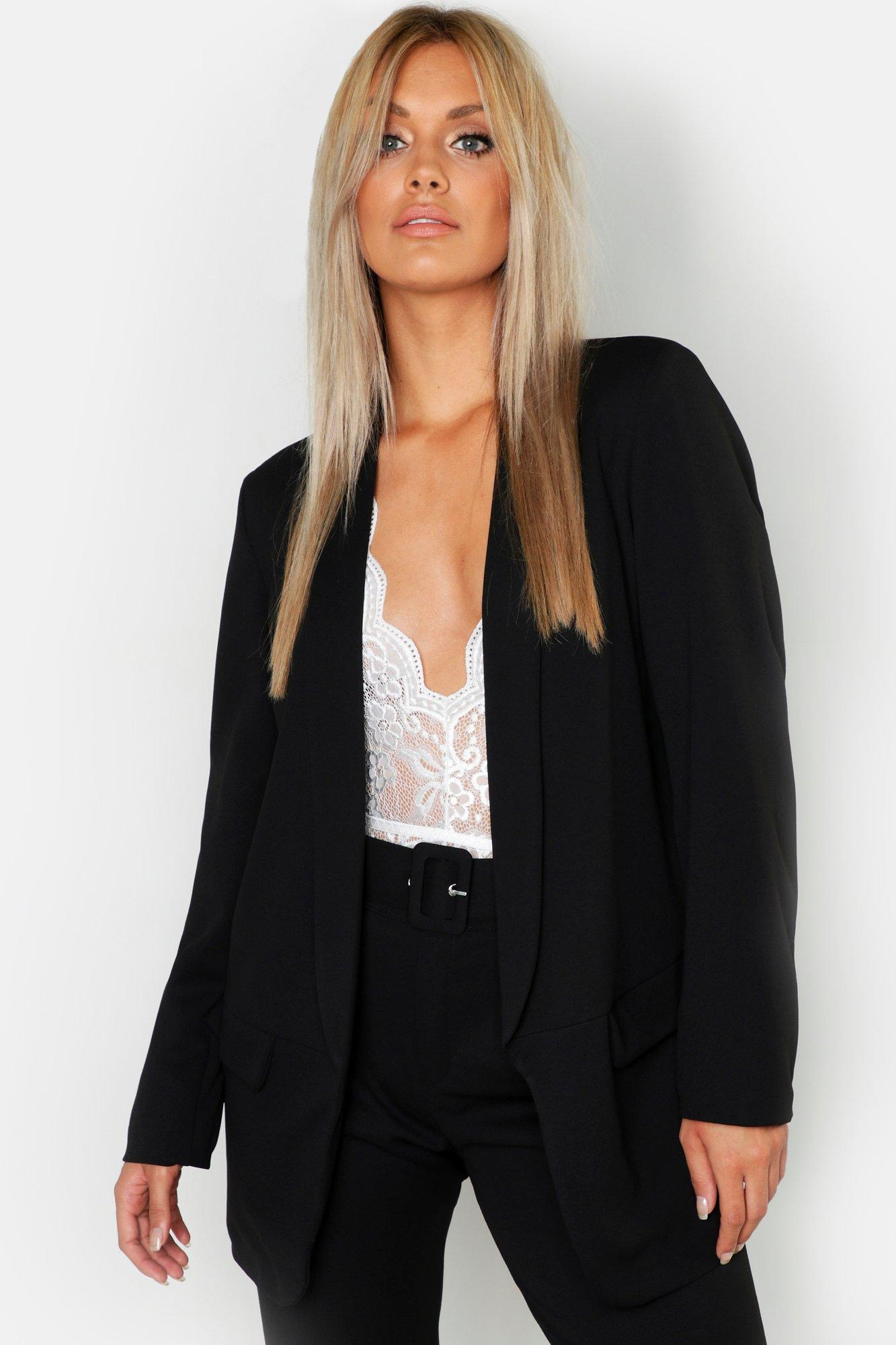 boohoo Womens Plus Tailored Blazer - Black - 16, Black