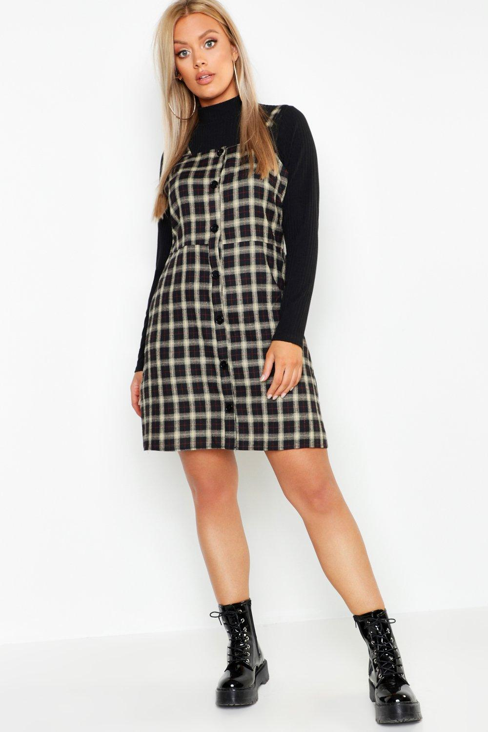 Купить Plus Button Down Check Print Pinafore Dress, boohoo