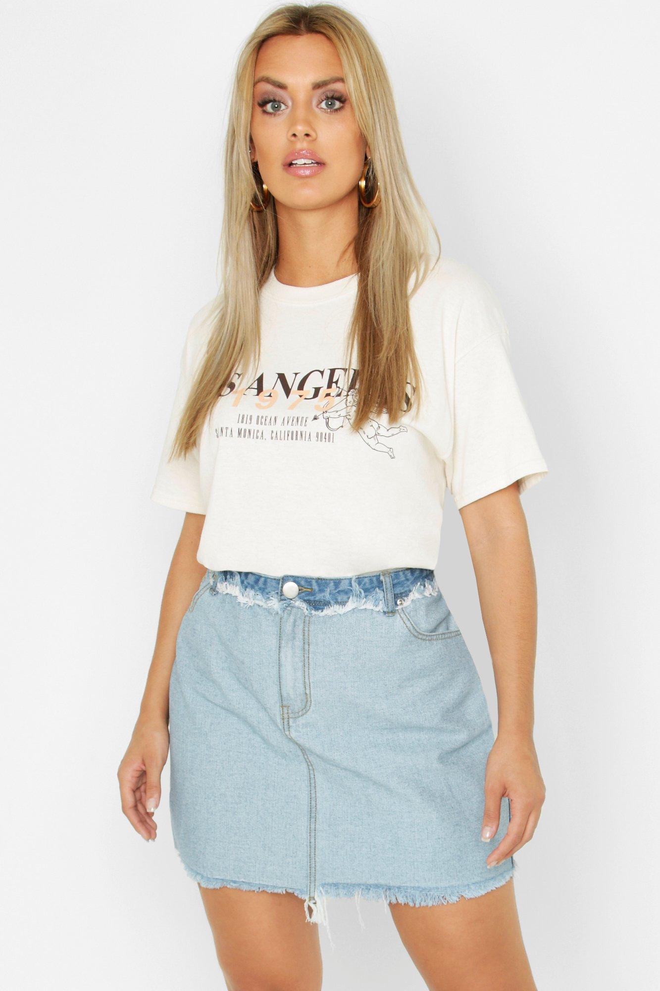 Купить Skirts, Plus Frayed Hem Detail Denim Skirt, boohoo