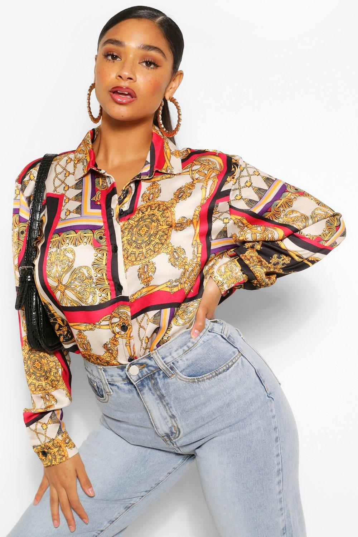 Womens Plus Blusenkleid mit Barockmuster - Taupe - 42, Taupe - Boohoo.com