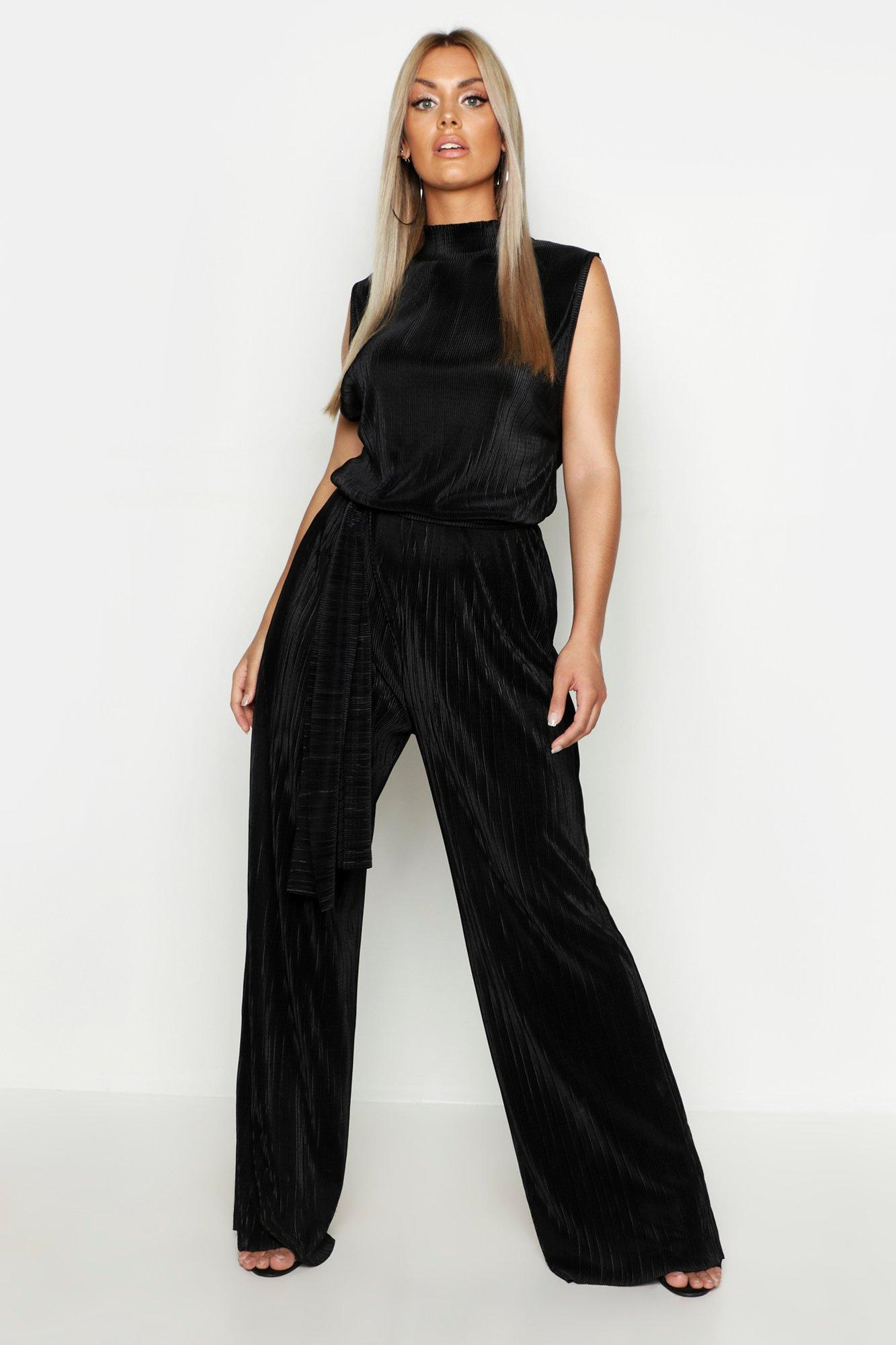 boohoo Womens Plus High Neck Plisse Jumpsuit - Black - 24, Black