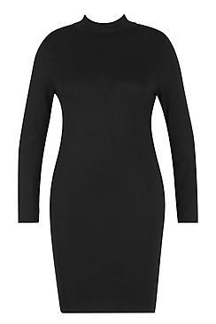 Plus Jersey Roll Neck Bodycon Dress