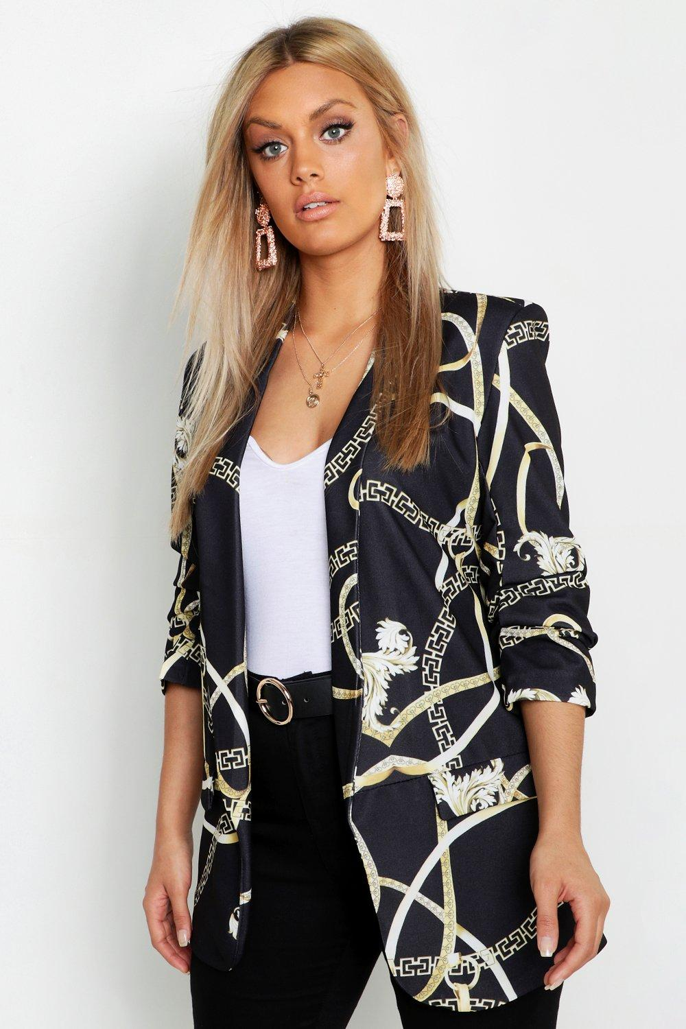 boohoo Womens Plus Chain Print Ruched Sleeve Blazer - Black - 24, Black