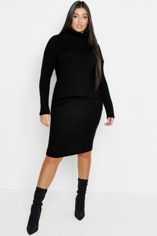 Купить Co-ordinates, Plus Roll Neck Rib Knitted Skirt Co-Ord, boohoo