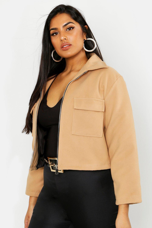 Купить Coats & Jackets, Plus Pocket Detail Wool Look Shacket, boohoo