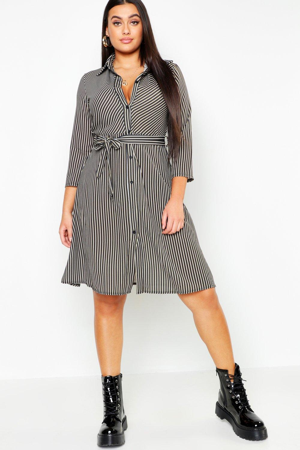 Купить Plus Stripe Tie Midi Dress, boohoo