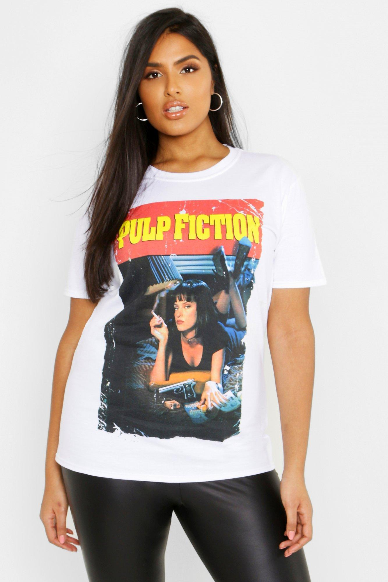 Womens Plus Pulp Fiction T-Shirt - Weiß - 44, Weiß - Boohoo.com