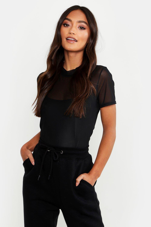 Womens Petite Mesh T-Shirt - black - 40, Black - Boohoo.com
