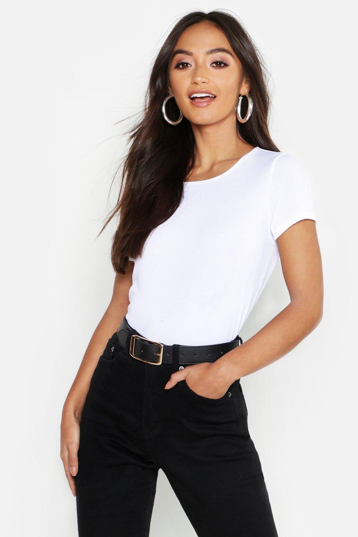Womens Petite geripptes Rundhals-T-Shirt - Weiß - 40, Weiß - Boohoo.com
