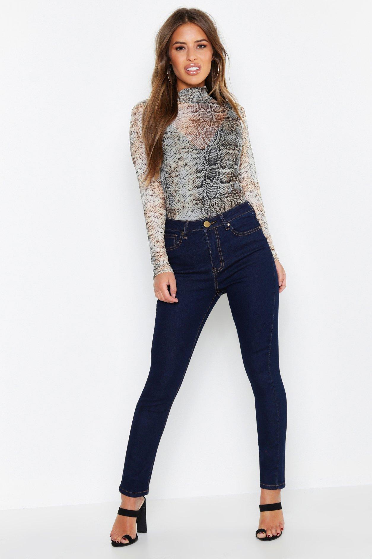 Купить Jeans, Из коллекции <Petite> Джинсы скинни с высокой талией, boohoo