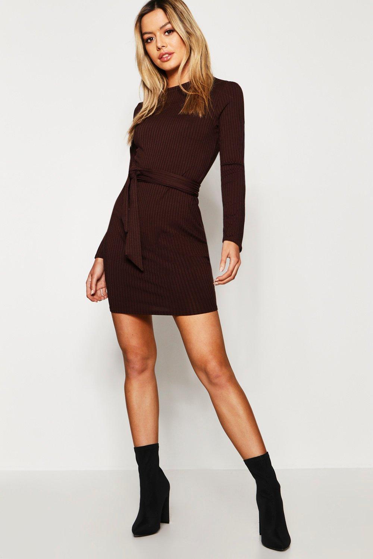 Купить Dresses, Из коллекции <Petite> Вязаное платье в рубчик с поясом, boohoo
