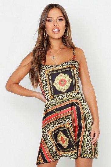 Multi Petite Satin Scarf Print Cami Dress
