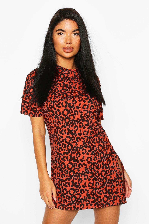 Petite Dresses Petite Rib Animal Print T-Shirt Dress