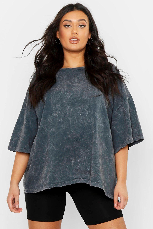 Womens Plus oversized T-Shirt im Acid-Wash-Look - anthrazit - 42, Anthrazit - Boohoo.com