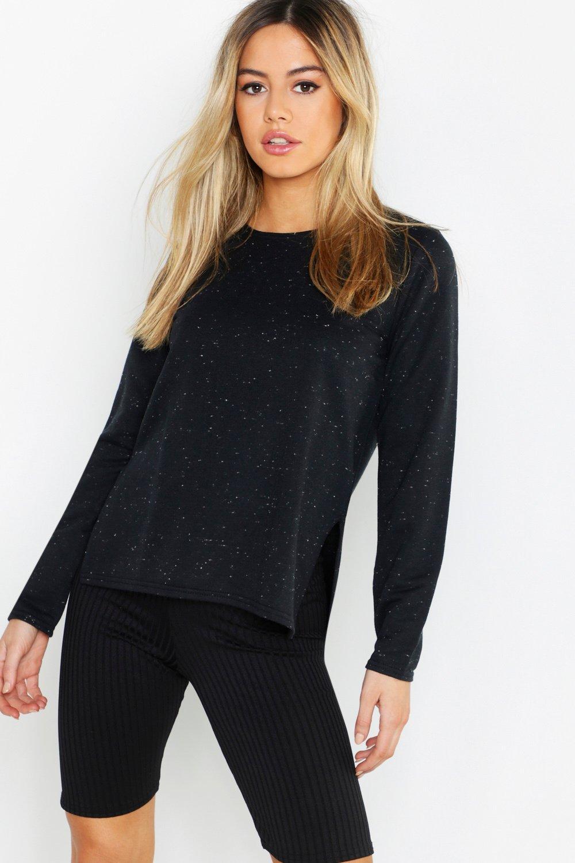 Womens Petite Sweatshirt mit Farbakzenten und geschlitztem Saum - schwarz - 30, Schwarz - Boohoo.com
