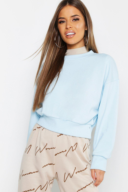 Womens Petite lässiges, kurzes Sweatshirt oversized - pale blue - 40, Pale Blue - Boohoo.com