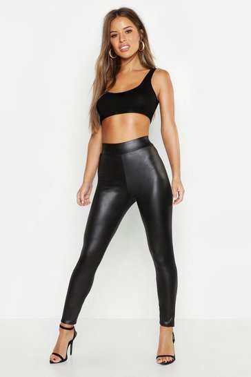Black Petite High Waist Basic Wet Look Legging