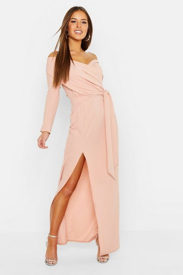 Blush Petite Off The Shoulder Split Maxi Dress