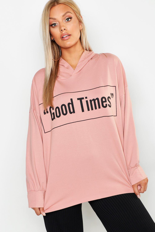 Купить Tops, Plus Good Times Oversized Hoody, boohoo