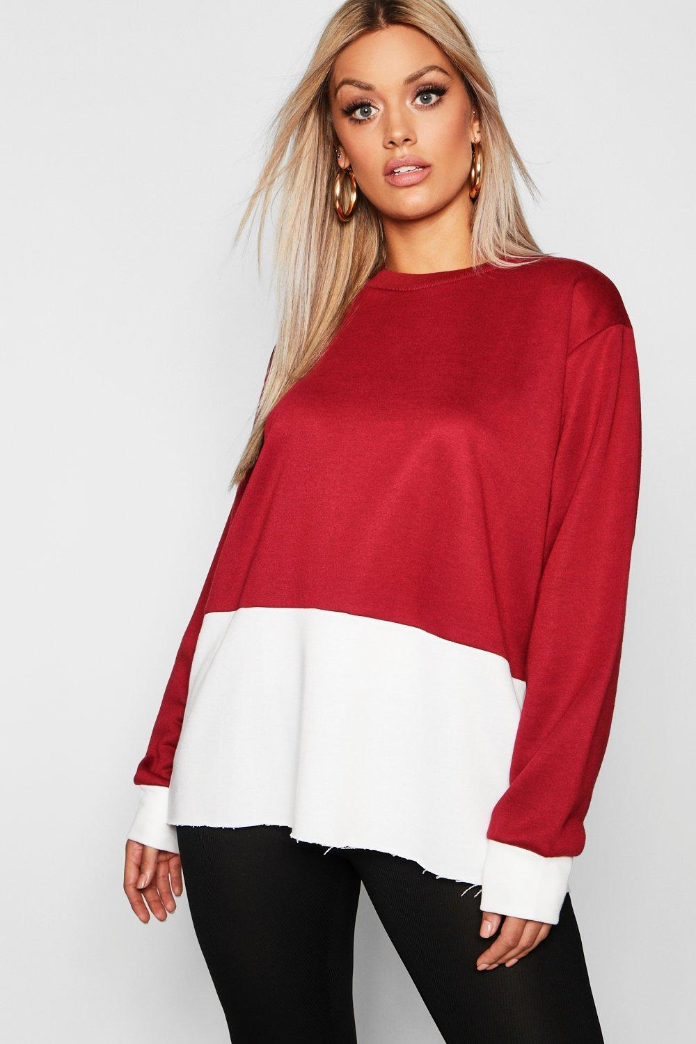 boohoo Womens Plus Colour Block Oversized Jumper - Red - 20, Red