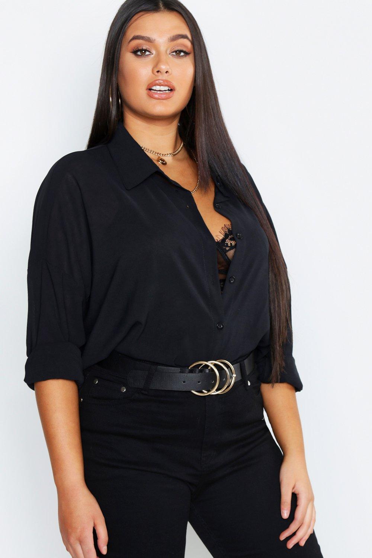 Womens Plus Oversized-Hemd aus Webstoff im Utility-Look - schwarz - 50, Schwarz - Boohoo.com