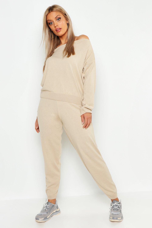 Купить Nightwear, Plus Heavy Knitted Slash Neck Lounge Set, boohoo