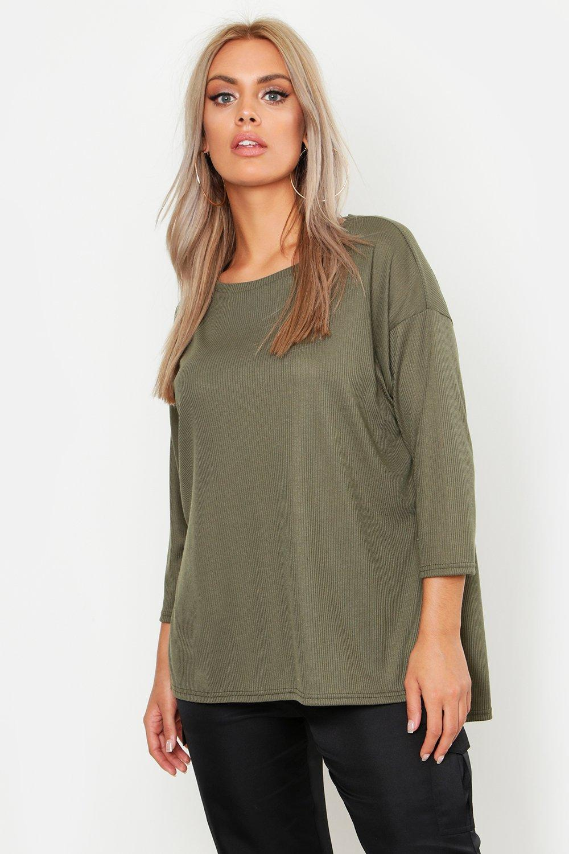 Womens Plus geripptes Rundhals T-Shirt mit Schlitz - khaki - 50, Khaki - Boohoo.com