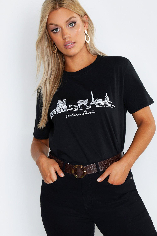 Womens Plus T-Shirt mit Skyline Paris - schwarz - 42, Schwarz - Boohoo.com