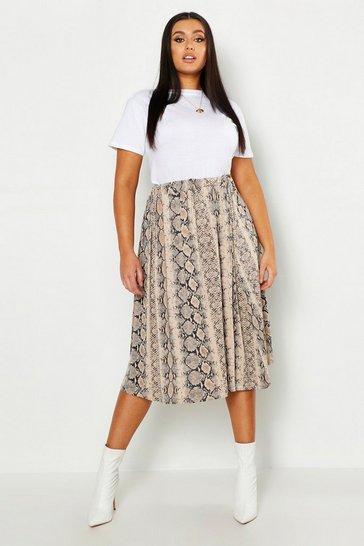 Natural Plus Jersey Animal Print Midi Skater Skirt