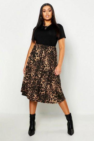 Brown Plus Jersey Animal Print Midi Skater Skirt