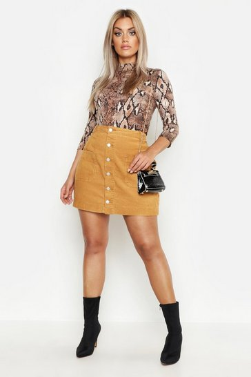 Tan Plus Cord Button Through Skirt