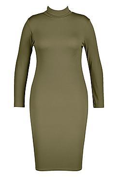 Plus Long Sleeve Roll Neck Midi Dress